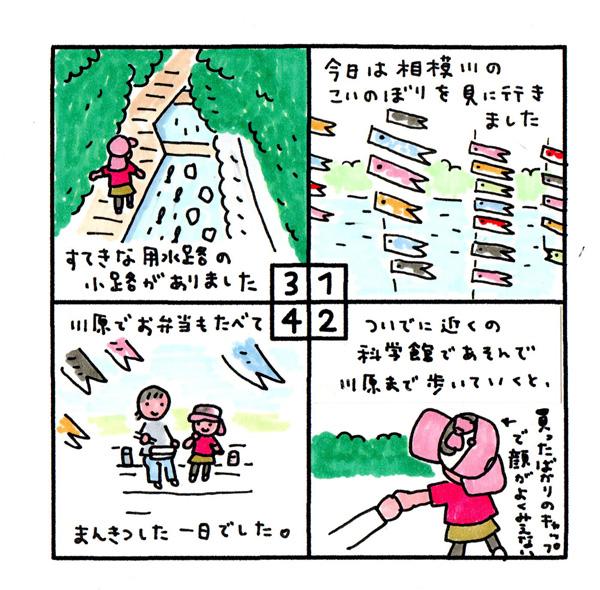 [こいのぼり] 5月3日。今日は相模川のこいのぼりを見に行きました。 ついでに近くの科学館で遊んで、川原まで歩いていくと、 すてきな用水路の小道がありました。 川原でお弁当も食べて、満喫した一日でした。