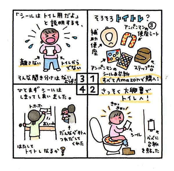 [そろそろトイトレ?③] ・補助便座・アンパンマンの便座シート・アンパンマンのシール&台紙・ステップ台 すべてAmazonで購入! さっそく大興奮でトイレへ! きゃっきゃっ。 「シールはトイレ用だよ」と説明するも、そんな聞き分けはない様子! 離さない。トイレから出ない。 ひとまずシールはしまってしまいました。(だんなが外へ連れ出してくれた) はたしてトイトレなるか?