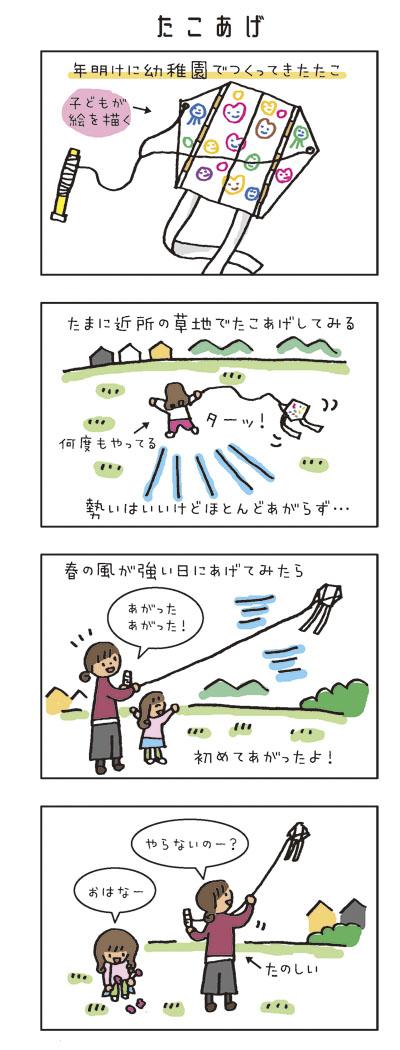 たこあげ 年明けに幼稚園でつくってきたたこ。(子どもが絵を描く) たまに近所の草地でたこあげしてみる。勢いはいいけどほとんどあがらず… 春の風が強い日にあげてみたら、初めてあがったよ!