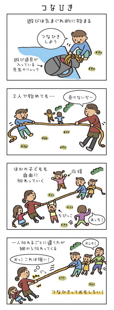 遊びは気まぐれ的に始まる。 「つなひきしよう」 2人で始めても… ほかの子どもも自由に加わっていく。 一人加わるごとに違う力が綱から伝わってくる。(おっ!これは強い!) つなひきっておもしろい!