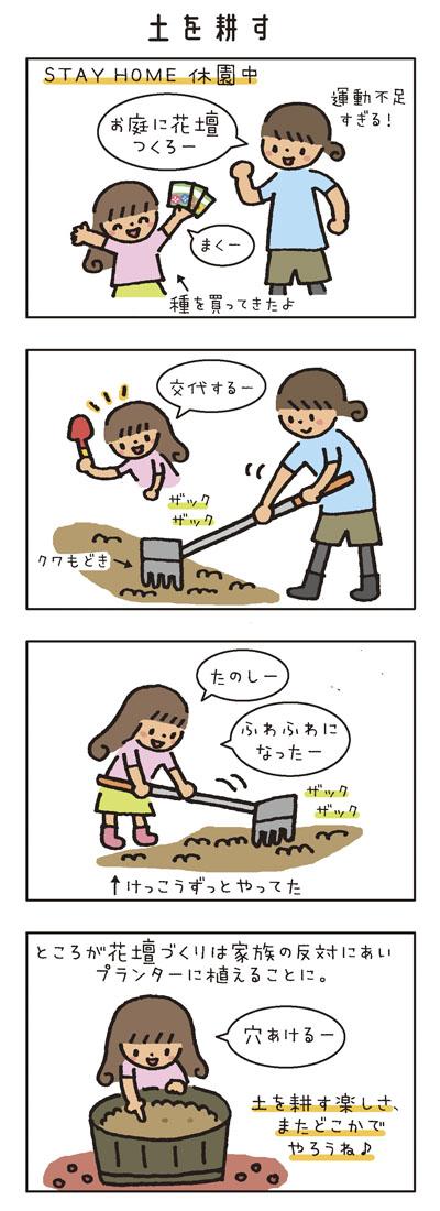 [土を耕す] STAY HOME休園中 「運動不足すぎる!お庭に花壇つくろー」「まくー」(種を買ってきたよ) 鍬でザックザック。「交代するー」 娘もけっこうずっとやってた。 「たのしー」「ふわふわになったー」 ところが花壇づくりは家族の繁体にあいプランターに植えることに。「穴あけるー」 土を耕す楽しさ、またどこかでやろうね♪