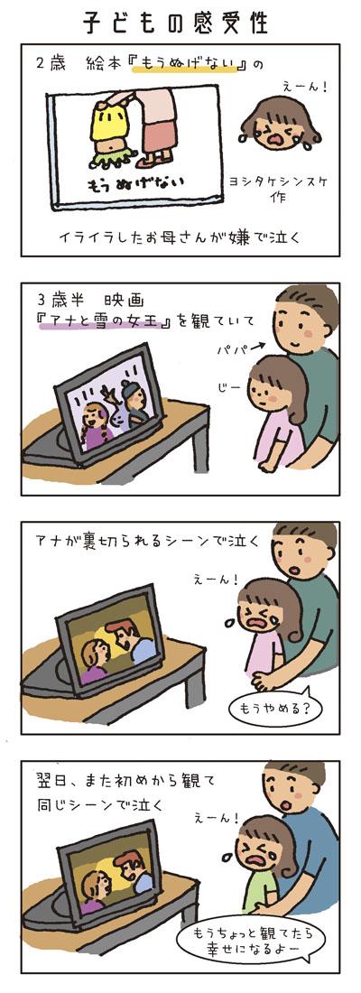 [子どもの感受性] 2歳。絵本『もうぬげない』(ヨシタケシンスケ作)のイライラしたお母さんが嫌で泣く。 3歳半。映画『アナと雪の女王』を観ていて、アナが裏切られるシーンで泣く。 翌日、また初めから観て同じシーンで泣く。「もうちょっと観てたら幸せになるよー」