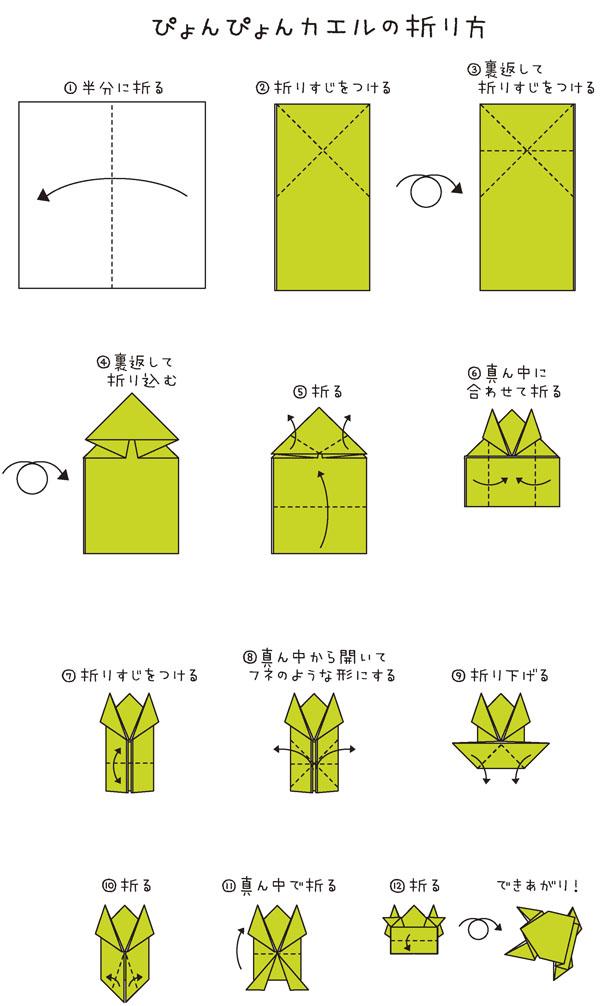 ぴょんぴょんカエルの折り方 1.四角く半分に折る 2.上半分に三角に折りすじをつける(ペケになるように) 3.裏返してペケの上に折りすじをつける 4.裏返してペケの部分を三角に折り込む 5.三角の部分を折って手をつくる  下の部分を半分に折る 6.両端を真ん中に合わせて折る 7.下の部分を半分に折りすじをつける 8.下の部分を真ん中から開いてフネのような形にする 9.フネの両端を折り下げる 10.折り下げた部分を三角に折り足をつくる 11.体を真ん中で折る 12.お尻の部分を真ん中で折る できあがり!